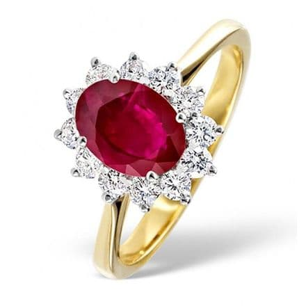 18K Gold 0.50ct H/si Diamond & 1.15ct Ruby Ring, DCR03-R