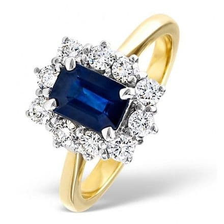 18K Gold 0.50ct H/si Diamond & 1.15ct Sapphire Ring, DCR02-S