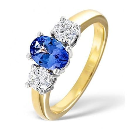 18K Gold 0.50ct H/si Diamond & 7mm x 5mm Tanzanite Ring, DCR01-T