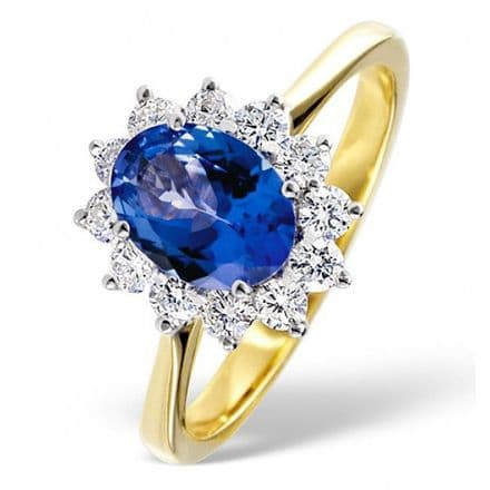 18K Gold 0.50ct H/si Diamond & 7mm x 5mm Tanzanite Ring, DCR03-T