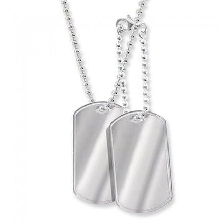 2 x White Gold Men's Dog Tag Chain Necklace, NK103Wa
