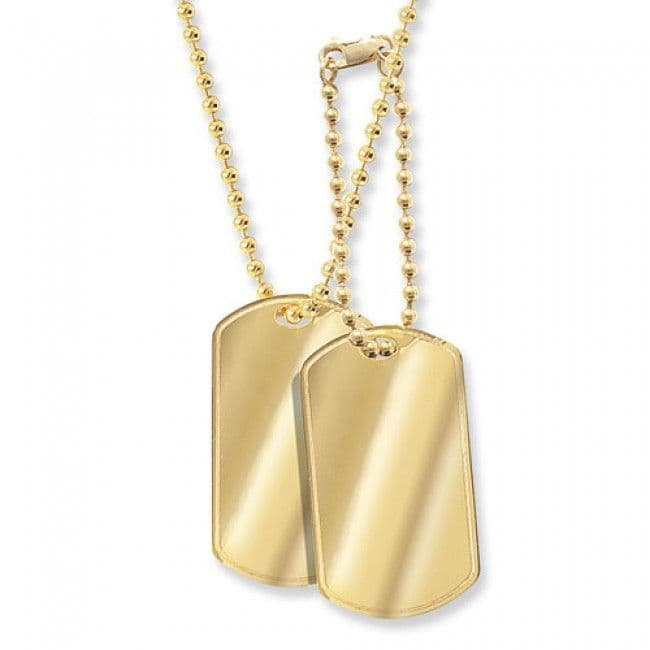 2 x Yellow Gold Men's Dog Tag Chain Necklace A real fashion statement for any man