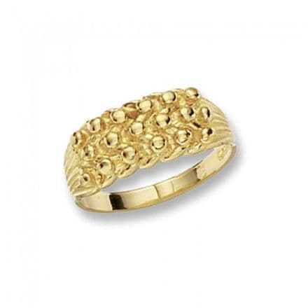9K Yellow Gold Men's Ring -Keeper 3 Row Heavy Substantial 3D Twist Ring, RN176