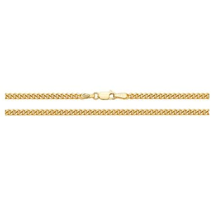 9ct Men's Yellow Gold Flat Close Curb 2.8mm Gauge Chain