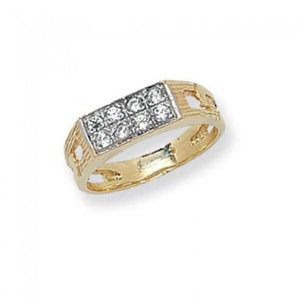 9K Gold Men'S Rings -Cz Baby Rings Curb Sides, RN738