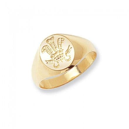 9K Gold Men'S Rings -Welsh Feathers, RN146