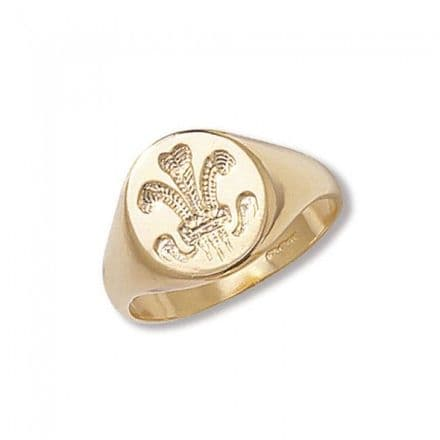 9K Gold Men'S Rings -Welsh Feathers, RN390