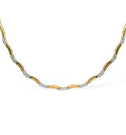 9K Yellow Gold 0.55ct Wave Diamond Necklace B1086