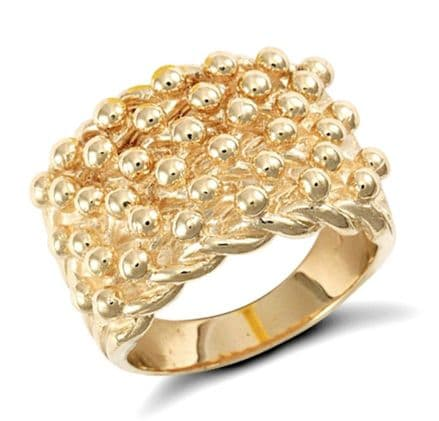 9K Yellow Gold Men's Ring -Keeper Heavy 17.1mm wide 6 Row 18 gram Ring