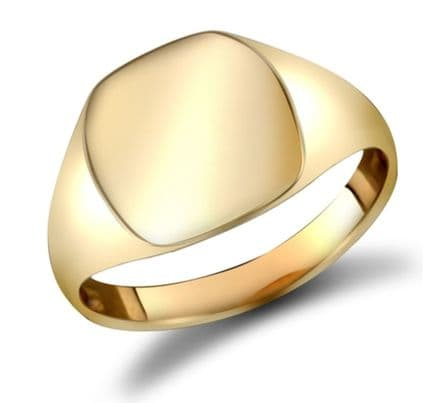 9K Yellow Gold Men's Signet Rings - Plain Oval 7.7g Weight can be engraved  initials etc
