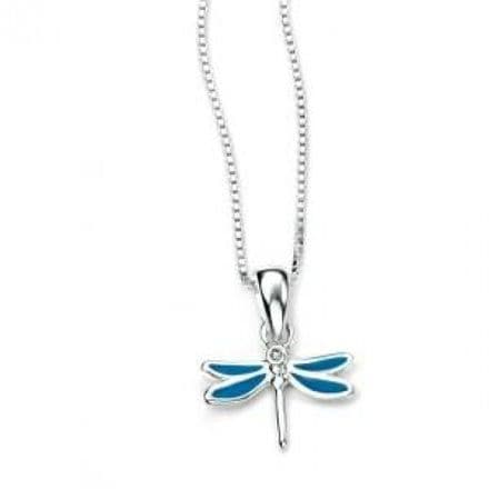 D for Diamond Sterling Silver Little Girls Valentines Gift Dragonfly Pendant & Chain Necklace, P4100
