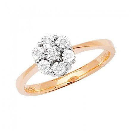 Diamond 0.04CT Illusion Plate Cluster 9K Yellow Gold Ring, RD366