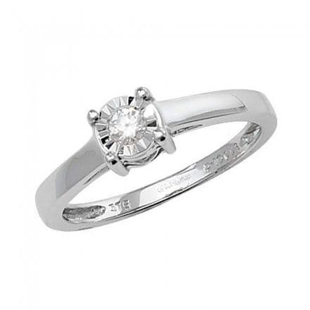 Diamond 0.10CT Solitaire Illusion Plate 9K White Gold Ring, RD139W