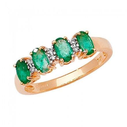 Diamond & 4 Oval Emerald Ring 0.01CT / 0.80CT 9K Yellow Gold Ring , RD258E