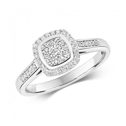 Diamond Cushion Cluster White Gold Sparkling Ring, RD641W