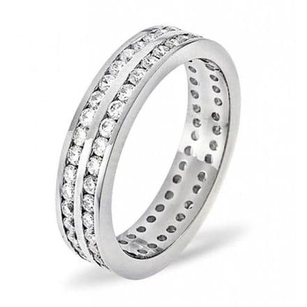 Gents 18K White Gold 2.00ct H/si Diamond Full Eternity Ring, GFE16-200HSW