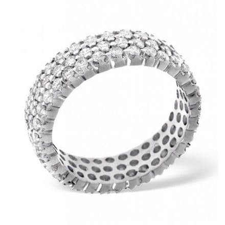 Gents 18K White Gold 2.00ct H/si Diamond Full Eternity Ring, GFE18-200HSW