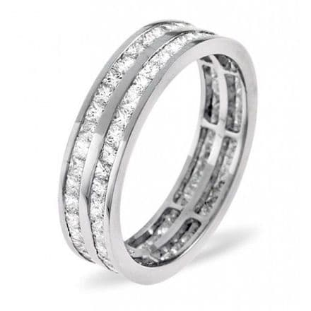 Gents 18K White Gold 2.00ct H/si Diamond Full Eternity Ring, GFE21-200HSW