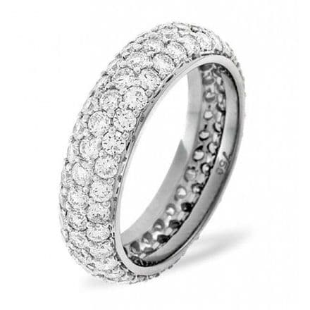 Gents 18K White Gold 2.00ct H/si Diamond Full Eternity Ring, GFE33-200HSW
