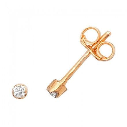 Just Gold Earrings -9Ct Earring Studs Cz, ES328