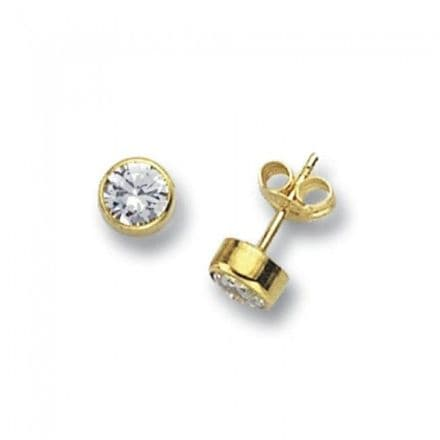 Just Gold Earrings -Studs Cz Round, ES232S