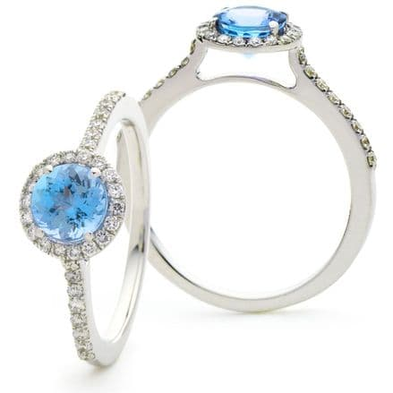 Aqua Marine & Diamond Halo Pave Engagement Ring