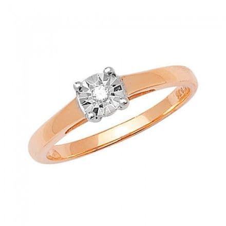Diamond 0.03CT Solitaire Illusion Set 9K Yellow Gold Ring, RD500