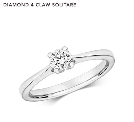 Diamond 0.040Carat White Gold 4 Claw Engagement Ring, RRP£1629