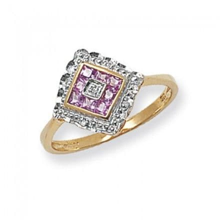 Diamond 0.39CT & Pink Sapphire 0.016CT 9K Yellow Gold Engagement Ring, RD213PS