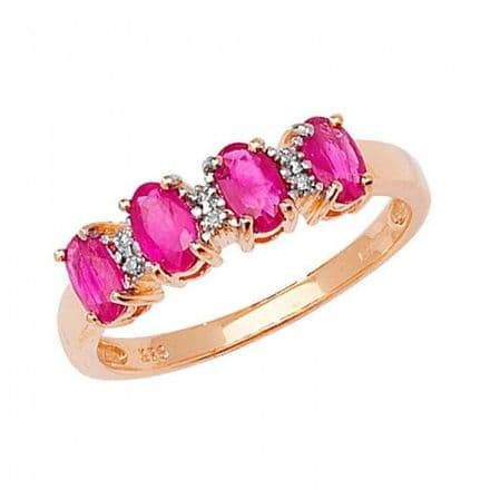 Diamond & 4 Oval Ruby Ring 0.01CT / 0.80CT 9K Yellow Gold Ring , RD258R