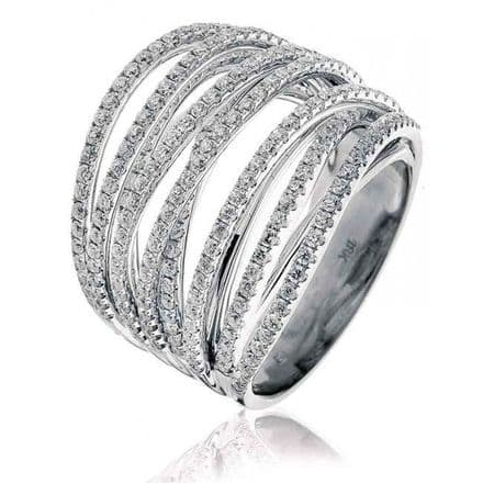 Diamond Pave Rope Twist Ring 1.60 carat Pave Set Diamond Crossover, XYR11158