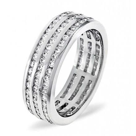 Gents 18K White Gold 2.00ct H/si Diamond Full Eternity Ring, GFE17-200HSW