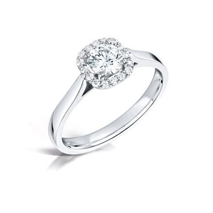 GIA Certified G VS Diamond cluster halo pave ring, Platinum. Round stone cushion look- 0.94 carat