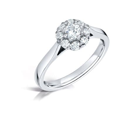 GIA Certified G VS Diamond cluster halo ring, Platinum. Round brilliant centre stone - 1.00ct