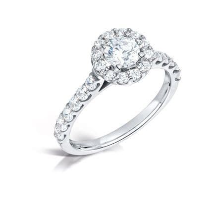 GIA Certified G VS Diamond cluster ring & diamond shoulders Platinum Round centre stone  0.75 carat
