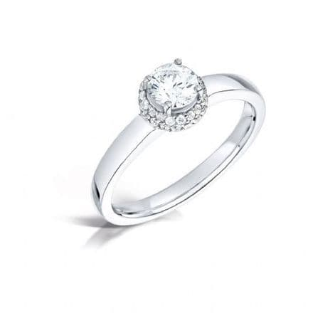 GIA Certified G VS Diamond cluster ring, Platinum Cushion look round centre stone - 0.77ct