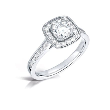 GIA Certified G VS Diamond cluster ring, Platinum. Cushion centre stone - 0.65ct