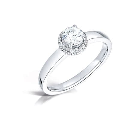 GIA Certified G VS Diamond cluster ring, Platinum. Cushion look centre stone surround - 1.00ct