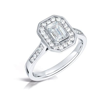 GIA Certified G VS Diamond cluster ring, Platinum. Emerald cut centre stone - 1.30ct