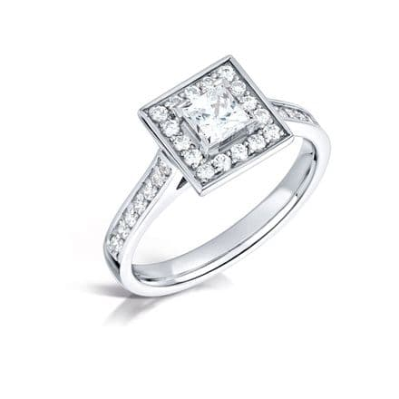 GIA Certified G VS Diamond cluster ring, Platinum. Princess cut centre stone - 0.90ct