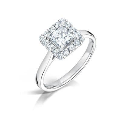 GIA Certified G VS Diamond cluster ring, Platinum. Princess cut centre stone - 1.42ct