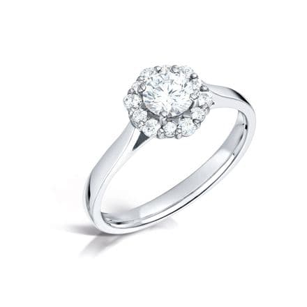 GIA Certified G VS Diamond cluster ring, Platinum. Round brilliant centre stone - 0.75 carat