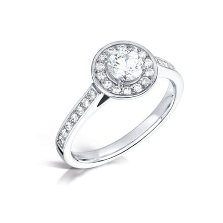 GIA Certified G VS Diamond cluster ring, Platinum. Round brilliant centre stone - 0.90ct