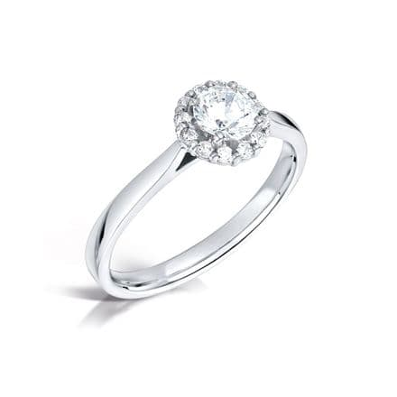 GIA Certified G VS Diamond cluster ring, Platinum. Round brilliant diamond centre stone - 0.75ct