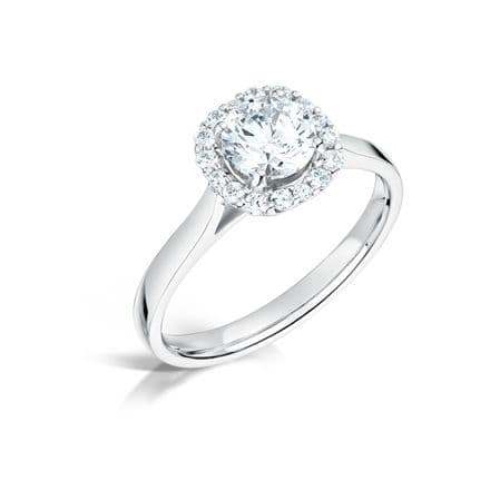 GIA Certified G VS Diamond Halo Pave  Ring, Platinum. Round brilliant centre stone - 0.90 carat