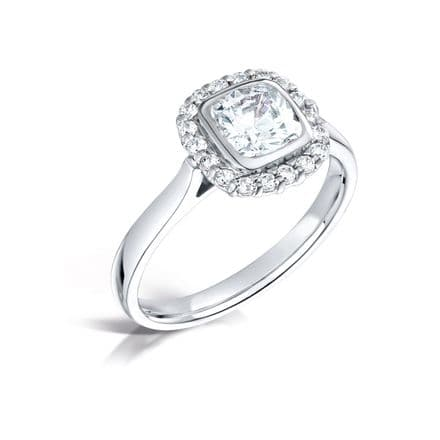 GIA Certified G VS Diamond Halo Ring, Platinum. Cushion centre stone - 0.75ct