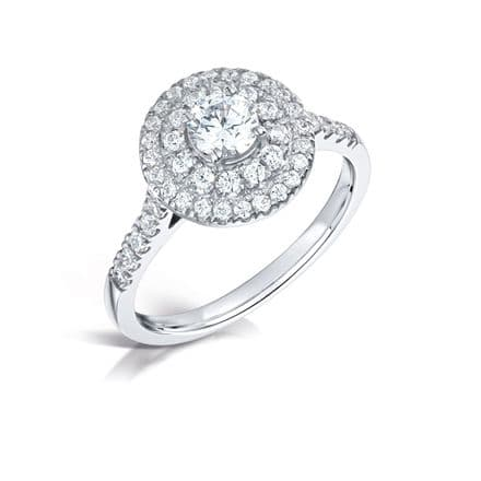 GIA Certified G VS Diamond Shoulder Double  Ring, Platinum. Round brilliant centre stone  0.75ct