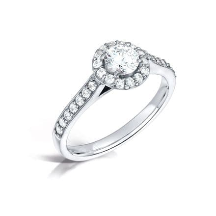GIA Certified G VS Diamond Shoulder Halo Ring Platinum Round brilliant centre stone  1.15ct