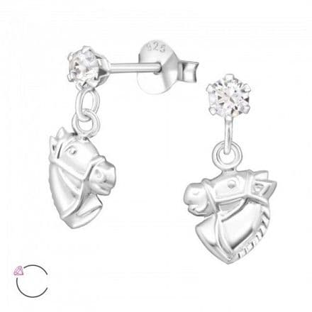Horse Head 925 Sterling Silver Ear Studs crystal from Swarovski®, MS32840