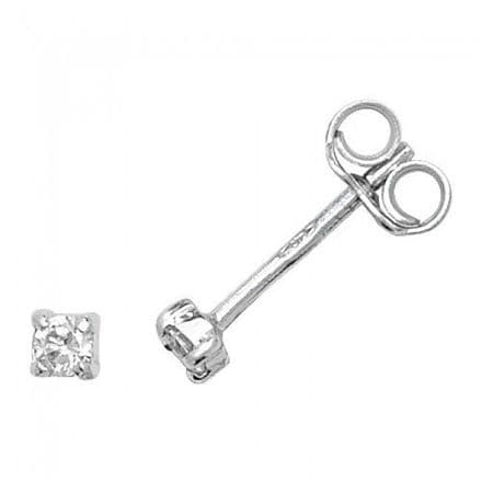 Just Gold Earrings -9Ct Earring 4 claw white gold Studs Cz, ES329W